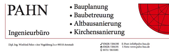 Ingenieurbüro für Bauplanung, Baubetreuung, Kirchen- und Altbausanierung Pahn in Arnstadt