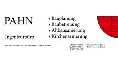 Ingenieurbüro für Bauplanung, Baubetreuung, Kirchen- und Altbausanierung Pahn in Arnstadt in Arnstadt
